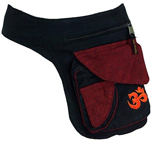GURU SHOP Stoff Sidebag & Gürteltasche, Goa Gürteltasche - Schwarz, Herren/Damen, Baumwolle, Size:One Size, 25x20x6 cm, Festival- Bauchtasche Hippie