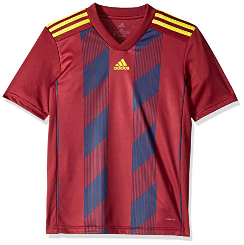 adidas Striped19 Youth Soccer Jersey, Collegiate Burgundy/Bright Yellow, Medium