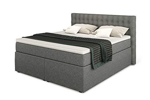 Betten Jumbo King Boxspringbett 180x200 cm 7-Zonen TFK Härtegrad H3 und Visco-Topper | Farbe Hellgrau | div. Größen verfügbar