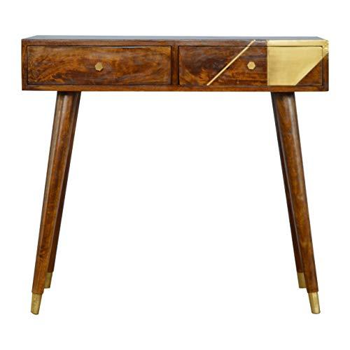 Artisan Furniture Nordic Style Chestnut Writing Desk with Gold Detailing Schreibtisch, Mangoholz, kastanienbraun, One Size