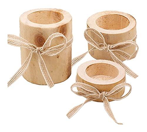 Lot de 3 bougeoirs en bois naturel pour bougies...