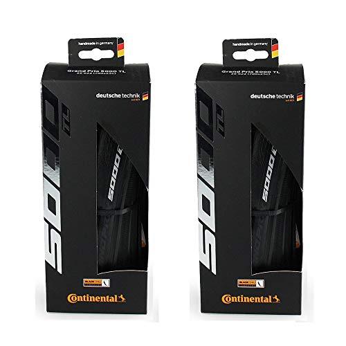 Continental Set of 2 GP 5000 TL, 700x25C, Racing Bike Tires, Tubeless, Black, Folding, 0101628