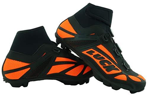 LUCK Zapatillas de Ciclismo para Invierno Winter Naranja MTB, con Suela de Carbono SHD, y Doble Sistema rotativo de precisión. (41 EU)