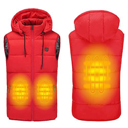 Sidiou Group Chaleco eléctrico con calefacción por USB para hombre y mujer (alimentación móvil no incluida), Unisex adulto, SDO-MJ007, rojo, xx-large