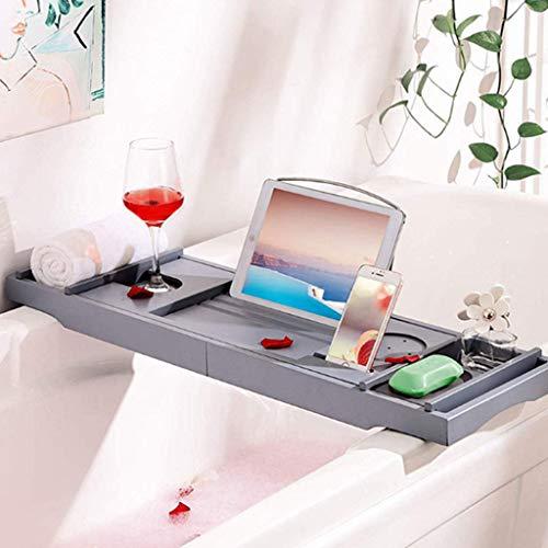 Gris Premium Bamboo Bath Caddy Tray - Support De Pont De Baignoire Extensible De avec Porte-Livre, Vin, Bougie Et Porte-appareils (Tablette, Téléphone Intelligent) pour La Maison - Expérience Spa