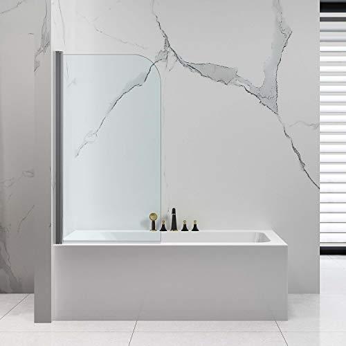 VILSTEIN Duschtrennwand 80x140 | Badewannenaufsatz Einteilig | 6mm ESG Sicherheitsglas | Beidseitig um 180° Faltbar | Nano-Versiegelung