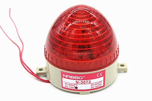 SUKRAGRAHA Red LED Flash Alarm Signal Indicator Light Buzzer AC//DC 12V 2 pc