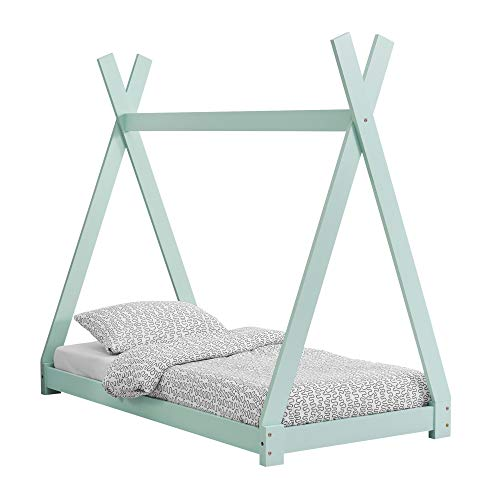 [en.casa] Cama para niños 70 cm x 140 cm Cama Infantil Estructura Tipi de Madera Pino Color Verde Menta