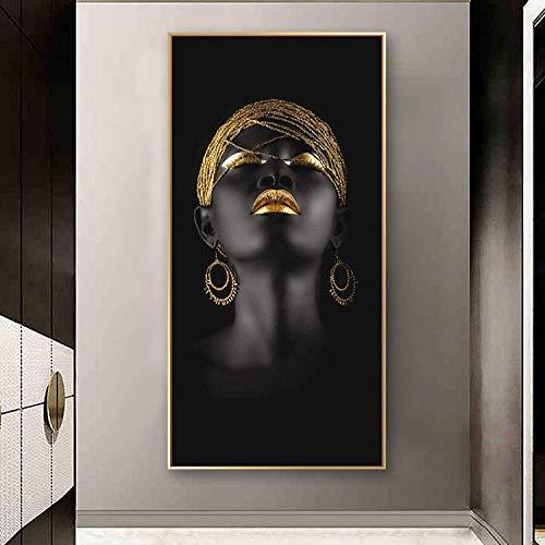 Refosian mujer negra con tocado dorado pinturas en lienzo carteles e impresiones de pared chica africana arte de pared cuadros en lienzo 65x130cm sin marco