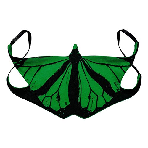 Holzkary Colorful Butterfly Bandana Unisex Anti Dust Face Covering with Filter Pocket Washable Reusable Fashion Design(Green)