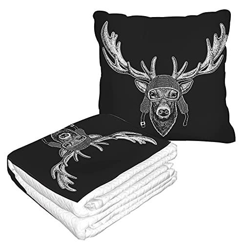 Deer - Manta de viaje con diseño de animales divertidos y vintage con casco estilo retro a la moda con carácter de piloto suave para avión, camping, viajes en coche