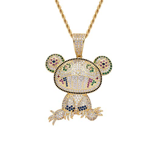 Luxury Mr.Dob Pendant Iced Out Cz Zircon Bling Cartoon Figure Charms Hip Hop Gift Gold