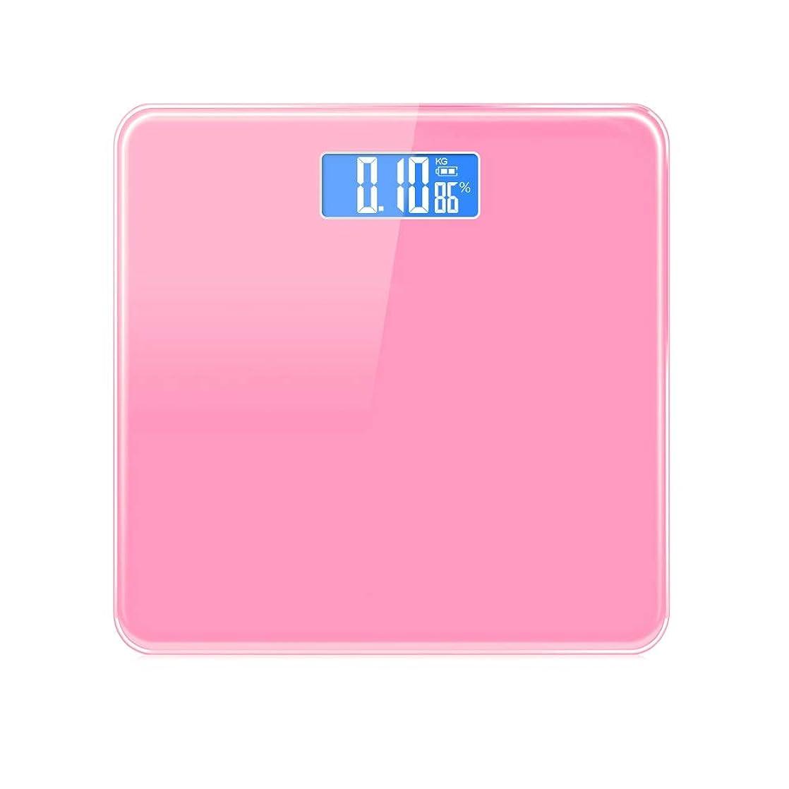 民主党フリンジパンXF 体重計?体脂肪計 電子体重計 - インテリジェント精密電子体重計ブルースクリーンナイトビジョン室内温度体重減少体重計女性寮 測定器 (色 : Pink)