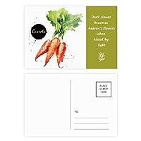 ニンジンは野菜のおいしい健康的な水彩画 詩のポストカードセットサンクスカード郵送側20個