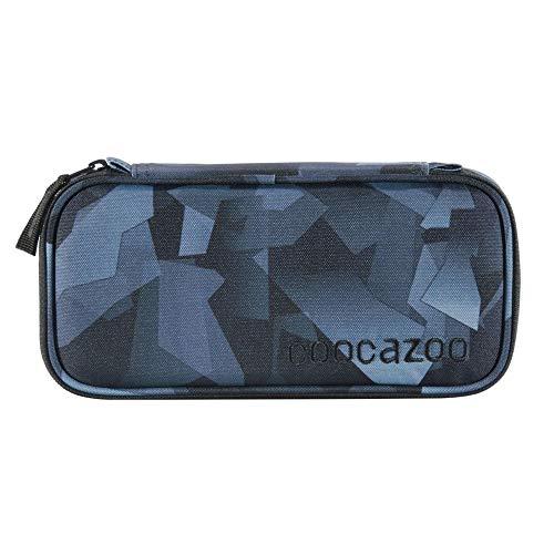 coocazoo Estuche de lápices gris 'Grey Rocks' con escuadra, compartimento para horarios, compartimento extraíble, compartimento con cremallera adicional