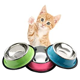 3Pcs Cat Bowl Dog Bowls Stainless Steel Pet Feeding Bowls With Non Slip Rubber Bases 3 styles Multifunctional Dog Cat Water Bowls Food Bowl Travel Grade pet Bowls for Puppy Dogs Cat Pet 5.9×4.3×1.9in