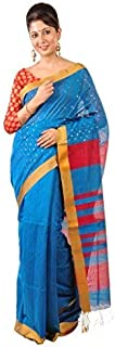 Ruprekha Fashion Women's Cotton Silk Blue Colour Bengal Handloom Saree