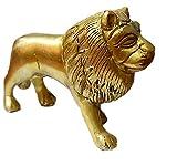 PARIJAT HANDICRAFT Vastu Remedy Brass Lion Statue in Golden Colored