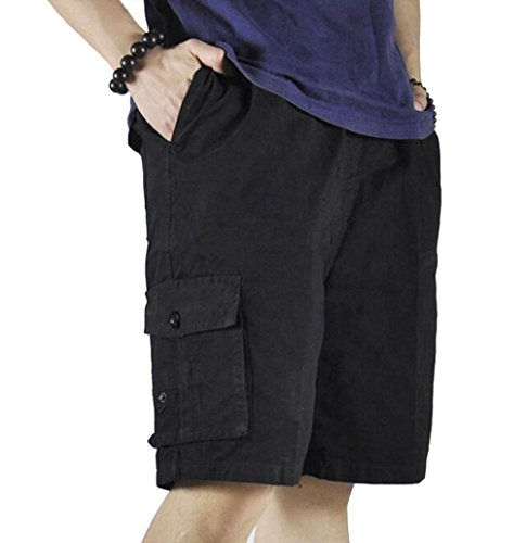 XinnanDe Mens Cotton Loose Twill Drawstring Relax Fit Cargo Short with Full Elastic Waist Black 46
