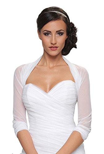 Damen Braut Bolero Brautkleid Chiffon/Stretch - B70 (S/M, Ivory)