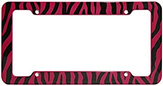Motorup America Auto License Plate Frame Cover - Fits Select Vehicles Car Truck Van SUV - Wild Red Zebra Print