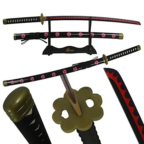 AUXIER One Piece Sword Katana Swords Real Anime Sword,Bamboo Zoro Sword Enma Cosplay Sword Wado Ichimonji Sword/Kitetsu Sword/Yubashiri Sword/Shusui Sword (Shusui Sword)