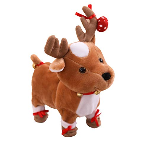 Reindeers Plush Toy, Electric Walking Cute Plush Reindeers Toys with Singing, Toys and Hobbies (As Show)