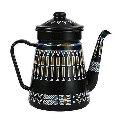ZCRFYY Retro Emaille Kaffeetasse Teekanne 1.2 L/42OZ Wasserkocher Rot Kaffeekanne Kessel Nostalgie Thermoskanne,Für Induktions Herd Und Gas Herd, Küche Krug Milchkännchen,Schwarz,1.2L
