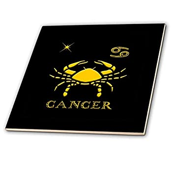 3dRose Cancer Zodiac Symbol Image of a Crab a Star and a Sign Gift Charm - Ceramic Tile 4-inch  ct_324624_1