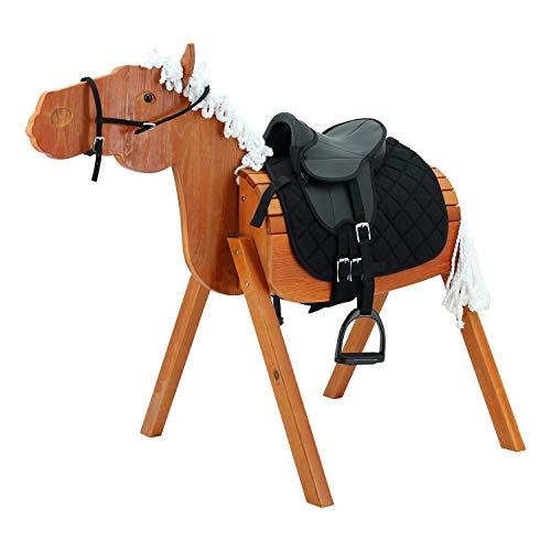 Sweety Toys 12978 Outdoor Gartenpferd Holzpferd Stella Größe L 118 cm MIT Zaumzeug & Sattel