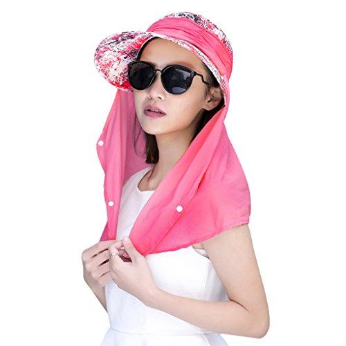 JIAHG Damen Sommer Sonnenhut Anti-UV Hut, Frauen Strandhut Sommerhut, doppelfunktionale Hüte Kappe mit abnehmbarer Nackenschutz, Einheitsgröße, Rot
