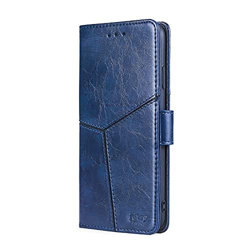 TOPOFU Funda para Samsung Galaxy A52s 5G, [Vintage de Billetera Cuero de la PU] Magnético Carcasa con Tapa Abatible y Ranuras para Dinero y Tarjeta de Crédito-Azul