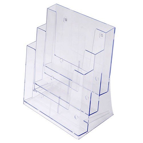 Prospekthalter DIN A4 dreistufig, Aufsteller Prospektständer Flyerhalter Acryl glasklar Prospekthalter A4