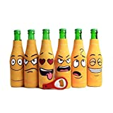 Amazing Drinkers - 6 pack funny quotes & cartoons Extra Thick yellow Neoprene Beer Bottle Sleeve Covers -Fully stitched, Non-Glued Base + bottle opener Trendy & Awesome Gift or Hosting Item # 6B-YFC