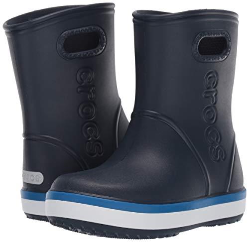 Crocs Kids' Crocband Rain Boots, Yellow/Navy, 2 Little Kid