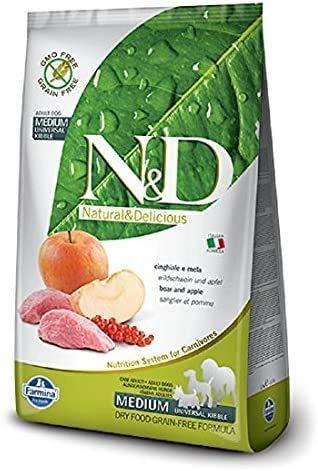 Hundefutter Trockenfutter N&D Wildschwein & Apfel, Getreidefrei - Natural & Delicious Farmina (800 Gramm)