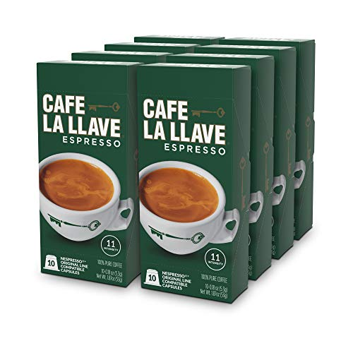 Café La Llave Espresso Capsules, Intensity 11-Recylable Coffee Pods Compatible with Nespresso OriginalLine Machines 80 Count