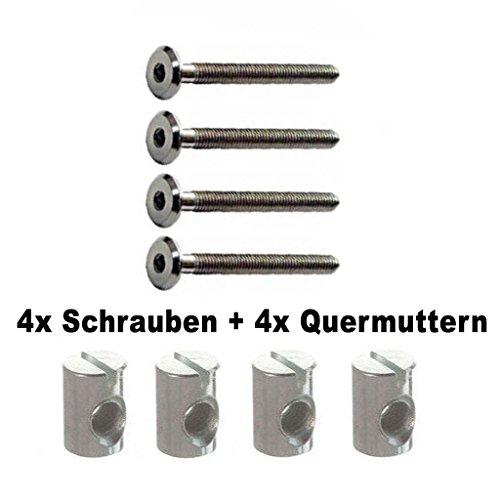 RP_Handel 4 x Schrauben + Muttern M6x40,50,60 oder70mm Ersatzschrauben für zb. Kinderbett Möbel IKEA Bett (vernickelt, 60mm)