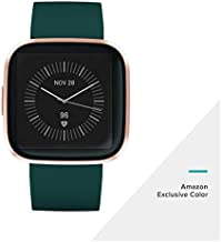 Fitbit Versa 2 (NFC), Health & Fitness Smartwatch with Heart Rate, Music, Sleep & Swim Tracking, One Size (S & L Bands Included), Emerald/Copper Rose [Pre-Order]