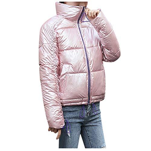 FRAUIT donsjack dames rits winterjas glanzend gewatteerde jas vrouwen warme tas outwear mantel lange mouwen ritssluiting pullover blouse mantel (Pink, donkergrijs, zilver, zwart, bruin)