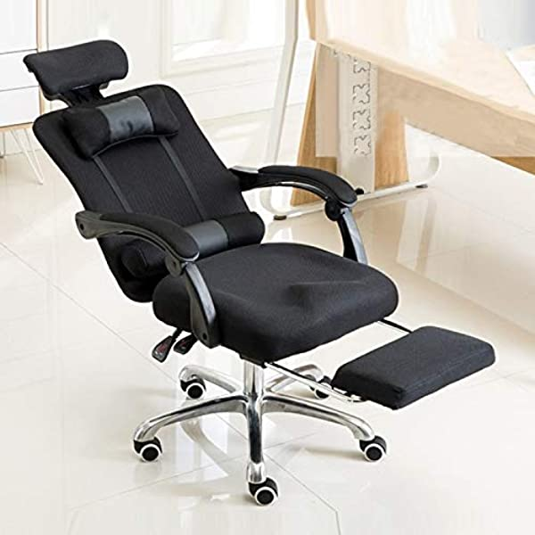 JHMJHM Fashion Chairs RC 10 1 Computer Chair Office Chair Home Esports Net Cloth Lifted Rotated Footrest Reclining Chair With Steel Feet Black Modern Furniture Color Black