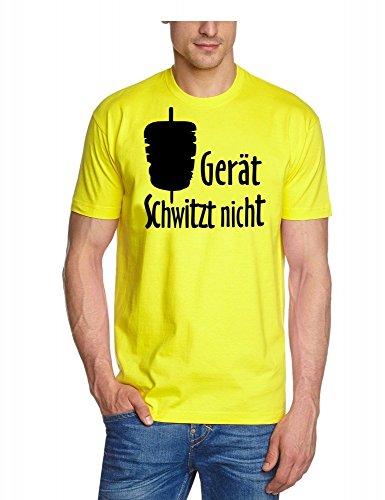 Coole-Fun-T-Shirts Herren T-Shirt Der Gerät schwitzt Nicht ! Döner, gelb-schwarz, S, 10814_Gelb_schwarz_GR.S