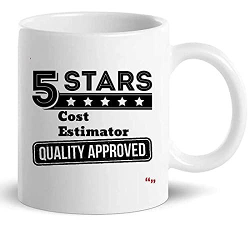 AOOEDM Estimador de costos de 5 estrellas de la taza de año Taza de café de 11 oz - Tazas de regalo Camisetas retiradas para hombres y mujeres Regalos