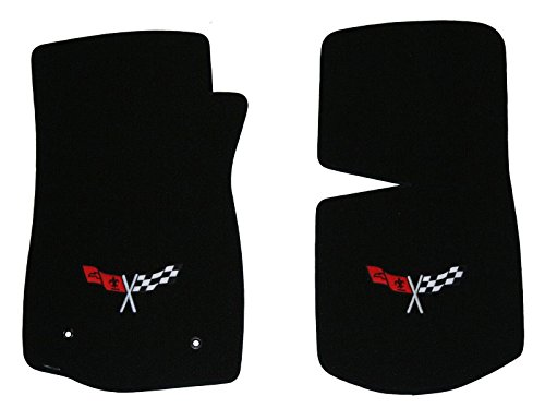 1968-1982 C3 Corvette Classic Loop Black Front Floor Mats Set with Crossed Flags Logo in Silver & Red