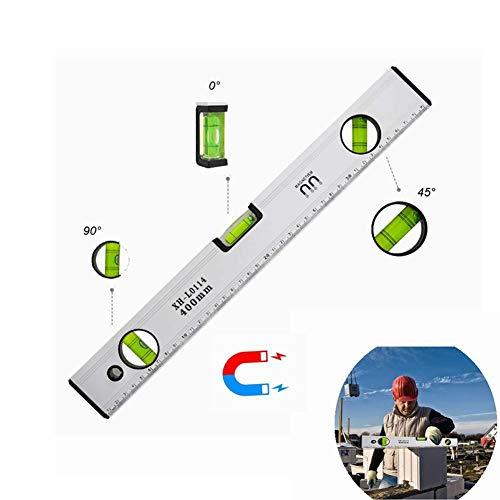 Yoyoo Wasserwaage 40cm Magnetisch Aluminium Gehäuse mit 3 Libellen Lineal Hohe Genauigkeit Magnet Wasserwaagen, hat Robuste Endkappen