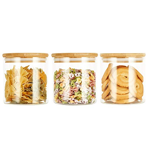 SXUDA 3 Pack Glass Food Storage Jars Containers with Airtight Bamboo Lids, 22 OZ High Borosilicate Glass Kitchen Canisters For Serving Tea, Coffee, Flour, Sugar, Candy, Cookie, Spice and More