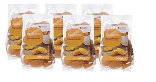 tegut... 6er Pack Ganze getrocknete Aprikosen 200 g - Trockenfrüchte entsteint und ungezuckert mit natürlichen Ballaststoffen - Vorteilspack 6x200g