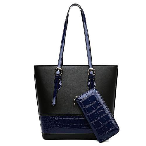 Handbag fashion lady bag two-piece set color matching large capacity wild shoulder bag Vintage Handbag (Color : Blue)