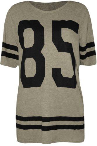 WearAll - Damen '85' Druck Kurzarm Baseball Trikot T-Shirt Top - Grau - 40-42