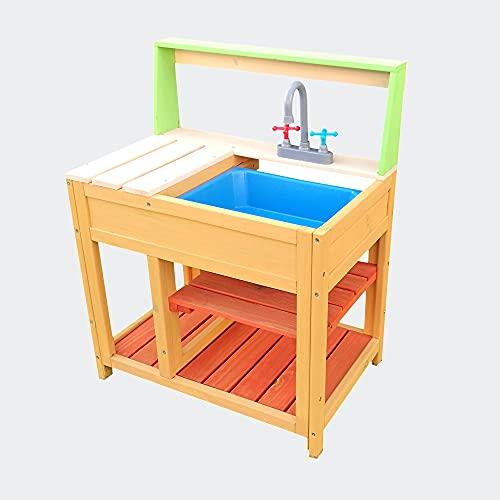 Matschküche Spielküche Outdoor für Kinder aus Holz mit Spülbecken